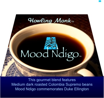 Mood Ndigo Coffee - Ground - A blend of medium dark roasted Colombia Supremo coffee beans